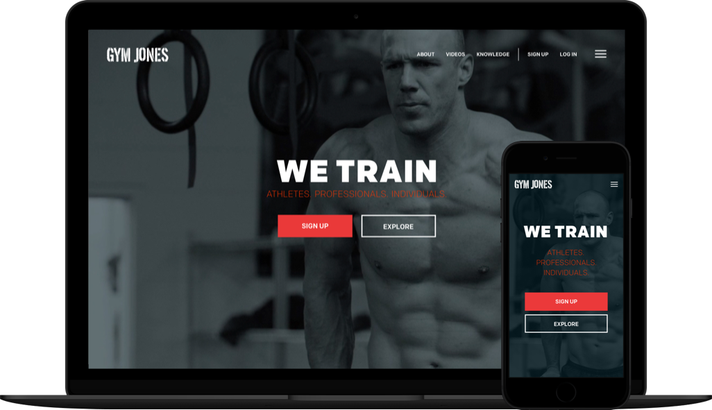 Gym Jones website on large and small screen